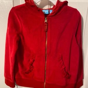 NWOT red velour zip up ruffle sweatshirt jacket
